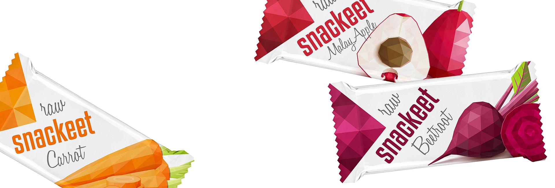 Navrhli sme obalový dizajn pre raw tyčinku snackeet