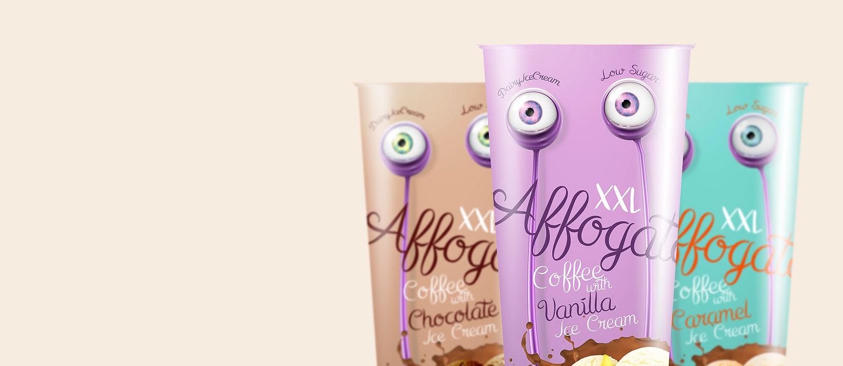 Obalový dizajn pre <span>zmrzlinu a nápoj affogato</span>