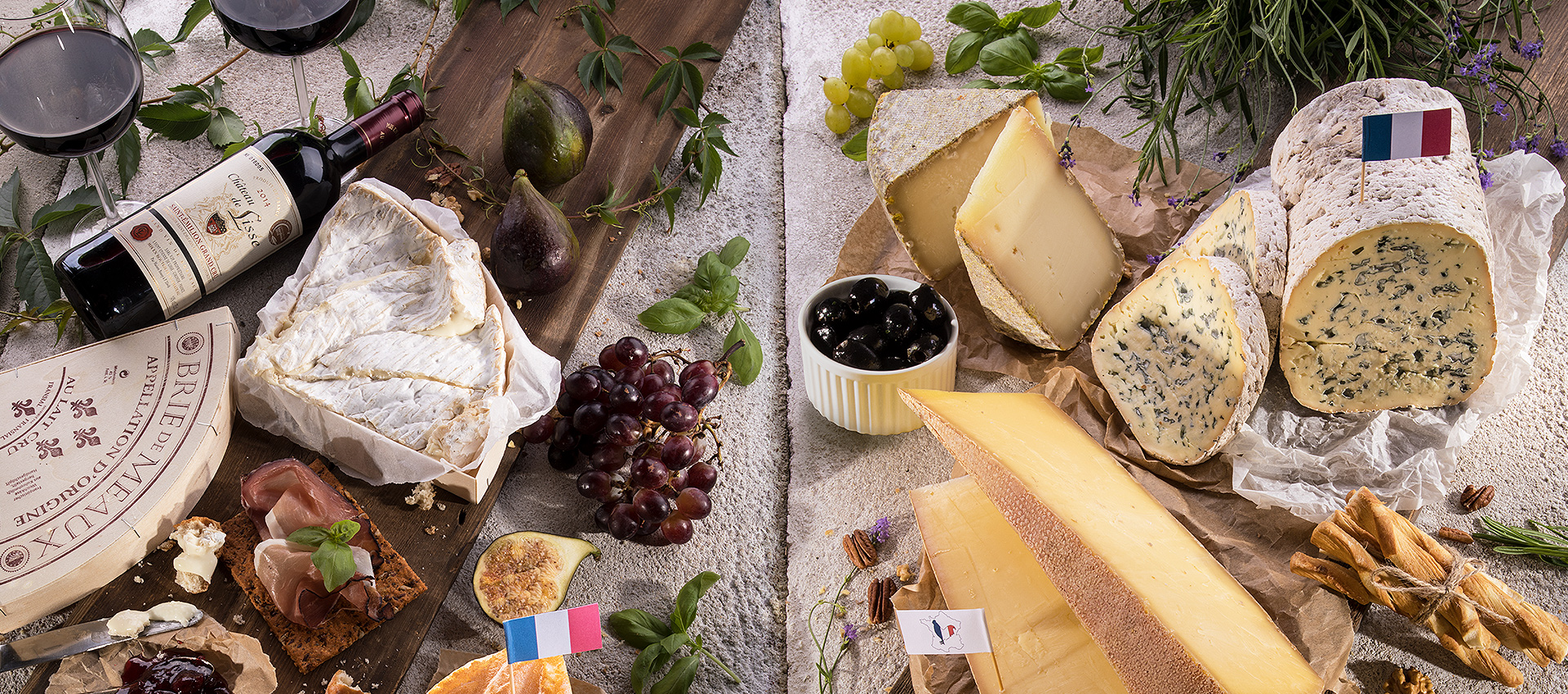 We completed food styling and photography for a variety of Czech and French cheeses and wines for Kaufland