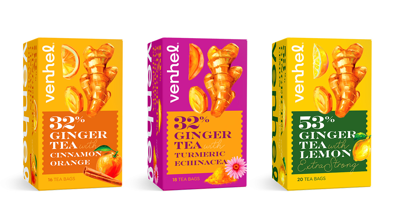 venhel tea packaging ginger