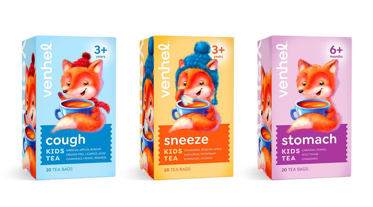 venhel tea packaging kids fox
